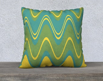 Mid-Century Modern Wavy Green and Yellow Pillow Cover, 22x22 Accent Pillow