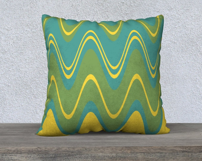 Featured listing image: Mid-Century Modern Wavy Green and Yellow Pillow Cover, 22x22 Accent Pillow