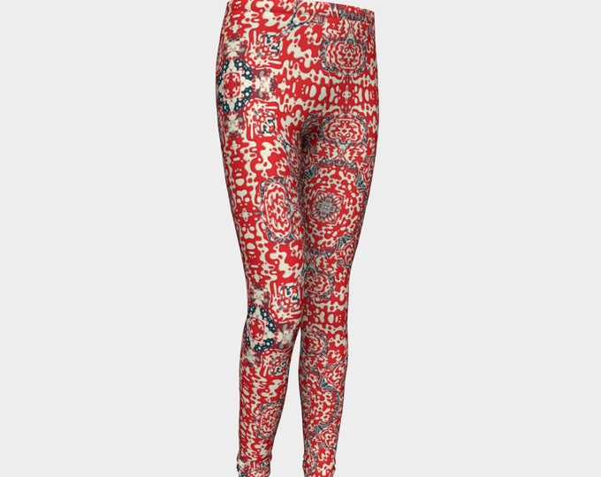 Girls Leggings, Red Bandana Leggings, Girls Yoga Leggings, Leggings, Girls Clothes, Dance Leggings, Girls Yoga Pants, Gift for Girl