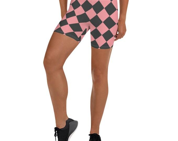 Checkerboard Gray and Pink Shorts