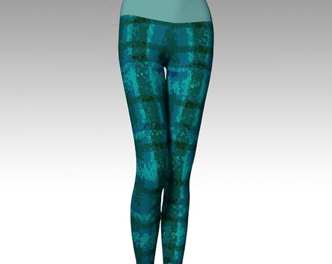 Green and Blue Plaid Leggings, Modern Leggings, Printed Leggings, Yoga Pants, Yoga Leggings, Women's Leggings