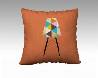 Orange Geometric Mid-Century Pillow Cover, Features a Mid-Century Modern Chair