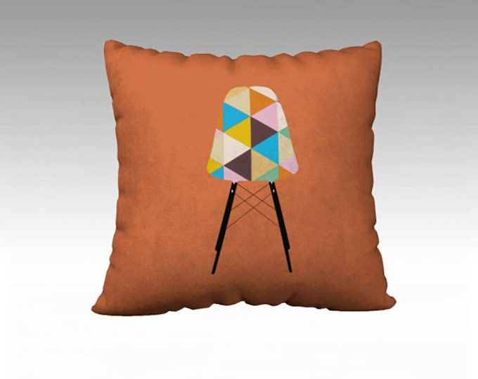 Orange Geometric Pillow Cover