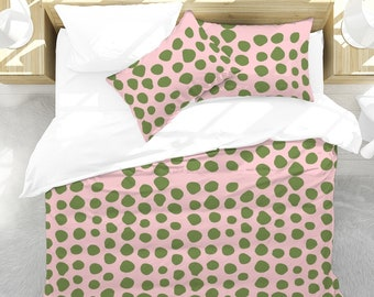 Queen Duvet Cover Set in Pink with Green PolkaDots