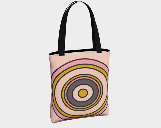 Pink Target Tote Bag, Tote Bag, Shoulder Bag, Canvas Tote Bag, Basic Tote Bag, Urban Tote Bag, Tote with Pockets
