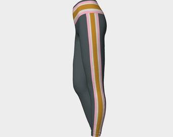 Gray and Pink Racing Stripe Yoga Leggings, Printed Yoga Leggings, Tights, Workout Tights, Women's Leggings