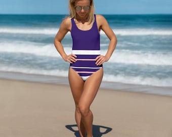 Navy/Pink Stripe One-Piece Swimsuit