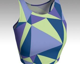 Geometric Crop Tops, Blue, Green, and Purple Crop Tops, Workout Crop Top, Women's Tops, Yoga Tops, Swim Tops, Athletic Tops
