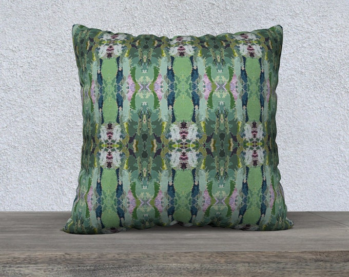 Green and Pink Ikat Cactus Flower Pillow Cover, Canvas or Velveteen Pillow cover, Throw Pillow, Sofa Pillow