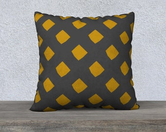 Gray and Gold Lattice Pillow Cover 22x22