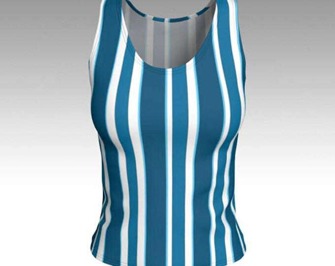 Vintage Blue and White Striped Tank Top, Dark and Light Blue Stripes,  Swim Tank, Athletic Top, Yoga Top, Exercise Top, Tank Tops