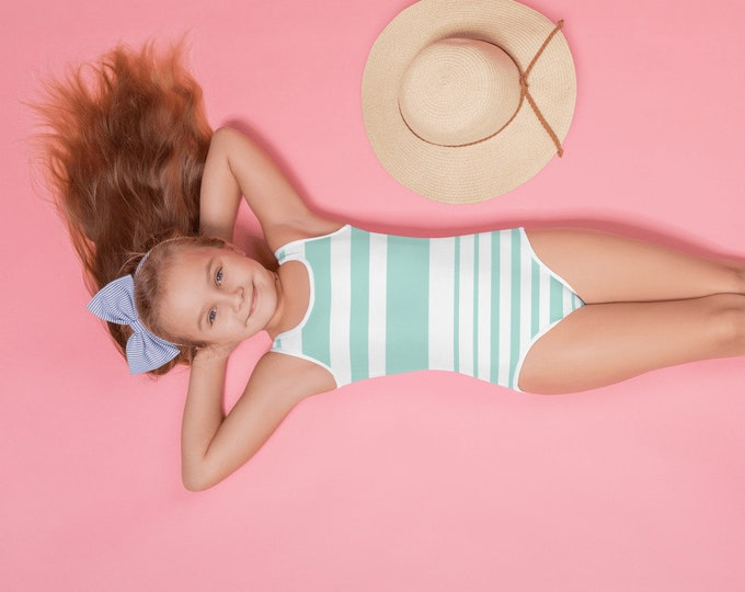 Girls Mint Stripe Swimsuit