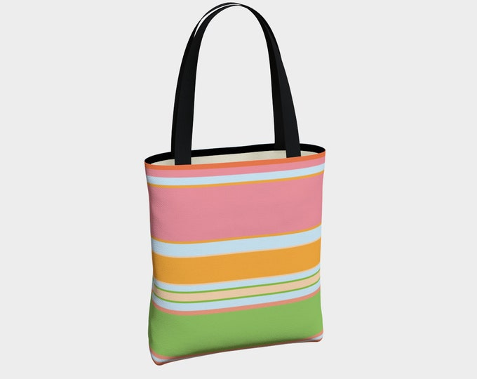 Summer Time Canvas Tote Bag, Shoulder Bag, Tote Bag, Canvas Tote, Striped Tote Bag, Basic Tote Bag, Urban Tote Bag, Lined Tote with Pockets