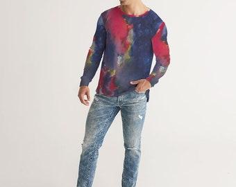 Men's Long Sleeve Abstract Tie Dye Tee Shirt