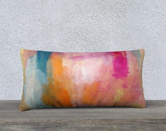 Bright Abstract long pillow cover, Lumbar Pillow, Throw Pillow, Pillow Cover, Modern Pillow Cover