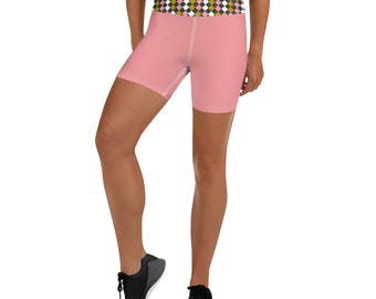 Dusty Pink/Checkerboard Yoga Shorts