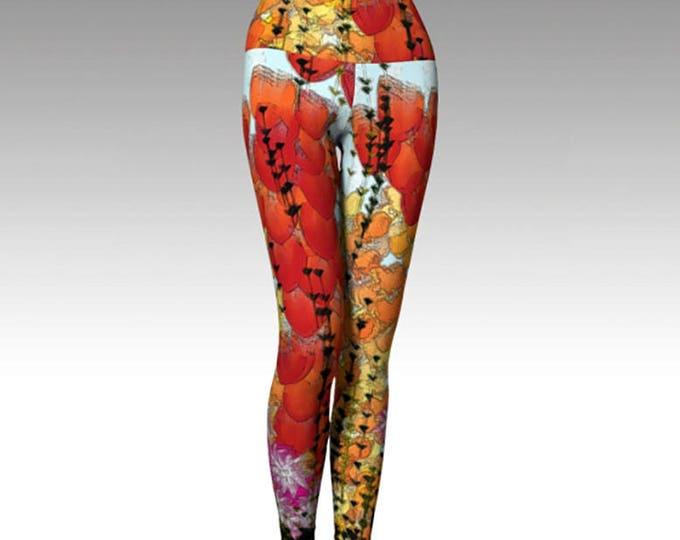 Flower Garden Yoga Leggings, Floral Yoga Leggings, Leggings, Red, Yellow, Blue Leggings, Yoga Leggings, Printed Leggings, Women's Leggings