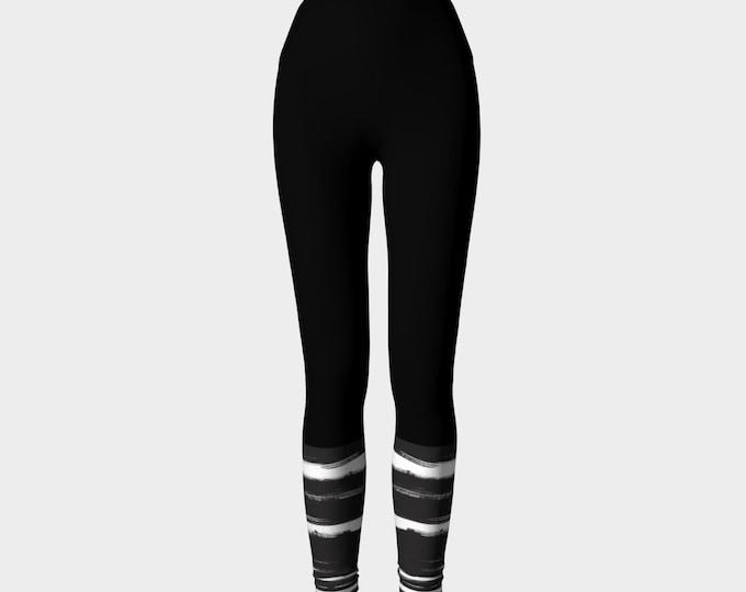 Black and White Bands Yoga Leggings, Women's Yoga Leggings, Printed Leggings, Leggings, Sporty Leggings