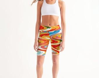 Women's Mid-Rise Bike Shorts Ziggy Design