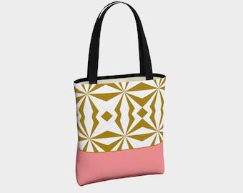 Tribal Gold and Pink Tote Bag, Canvas Tote Bag, Shoulder Bag, Fashion Tote, Basic Tote Bag, Urban Tote Bag, Tote with Pockets