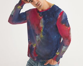 Men's Long Sleeve Abstract Tie Dye Tee Shirt