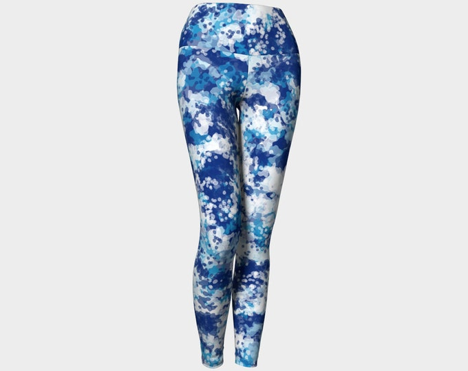 Blueberry Leggings, Printed Leggings,  Blue and White Leggings, Yoga Pants, Wearable Art, Women's Leggings, Leggings