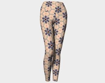 Indigo Large Daisy Yoga Leggings, Yoga Leggings, Yoga Pants, Women's Leggings, Printed Leggings, Gift for Her