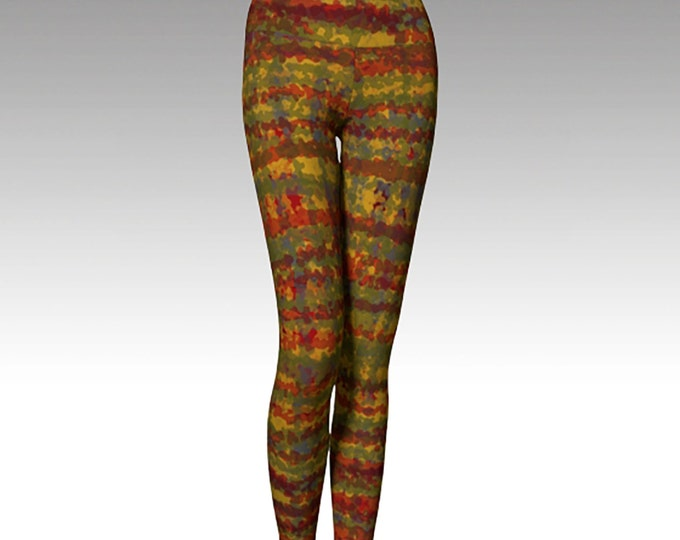 Red, Gold, and Green, Plaid Leggings, Modern Leggings, Printed Leggings, Yoga Pants, Yoga Leggings,  Fashion