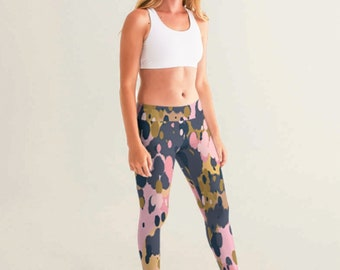 Yoga Pants with Splatter of Pink, Slate Gray and Gold