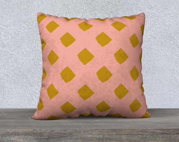 Pink and Gold Lattice Pillow Cover 22x22