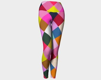 Harlequin Geometric Yoga Leggings, Geometric Yoga Leggings, Leggings, Multicolor Leggings, Yoga Leggings, Printed Leggings, Women's Leggings