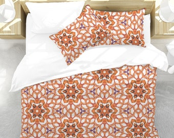 Duvet Cover Set ORANGE STAR. King, Queen, Full or Twin Duvet Cover Set