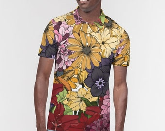 Men's Slim Fit Short Sleeve Polo, Floral polo for men