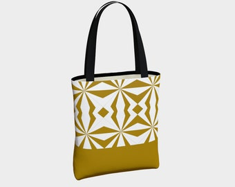 Tribal Gold Canvas Tote Bag, Canvas Tote Bag, Shoulder Bag, Fashion Tote, Basic Tote Bag, Urban Tote Bag, Lined Tote Bag, Tote with Pockets