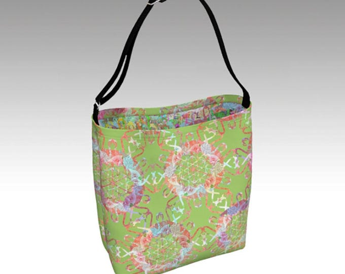 Flamingo Love Tote Bag, Lime Green Tote, Large Tote Bag, Book Tote, Tote Bag, Printed Tote Bag inside and out, Customizable Strap