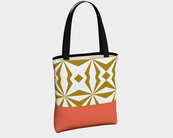 Tribal Gold Orange Tote Bag, Canvas Tote Bag, Shoulder Bag, Fashion Tote, Basic Tote Bag, Urban Tote Bag, Lined Tote Bag, Tote with Pockets