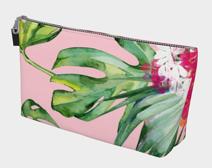 Tropics Makeup Bag, Cosmetic Bag, Travel Bag, Bridesmaid Gift, Gift for woman