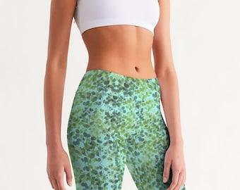 Women's Mid-Rise Bike Shorts in Mint and Indigo Eucalyptus Leaves
