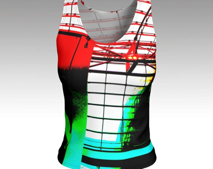 Tank Top, Graphic Tank Top, Black, red, green, and blue Tank Top, Fitted Tank Top, Women's Tank Top, Women's Tops, Yoga Tops, Gift for her