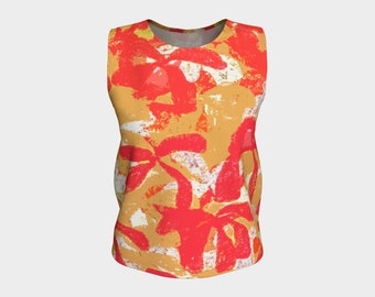 Red and Gold Tahitian Loose Fitting Top, Tops, Tank Top, Women's Tops, Summer Tops, Tops, Women's Tops, Loose Fit Top, Sleeveless Tops