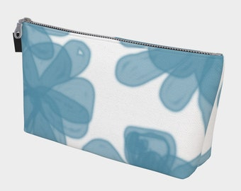 Blue Flowers Makeup Bag, Cosmetic Bags, Bags and Purses, Travel Bag, Toiletry Bag
