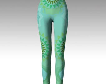Mint Mandala Yoga Leggings, Green/Blue Leggings, Leggings, Yoga Leggings, Printed Leggings, Women's Leggings, Boho Leggings, Yoga, Gift