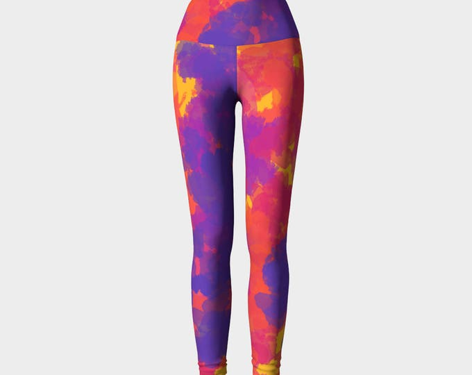 Rio Purple and Red Yoga Leggings, Women's Yoga Leggings, Leggings, Yoga Leggings, Yoga Pants, Printed Leggings, Gift for her