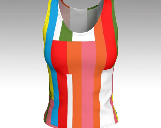 Tank Top, Juicy Fruit Striped Tank Top, Mid Century Striped Women's Top, Retro Stripes, Swim Tank, Athletic Top, Yoga Top, Gift for her