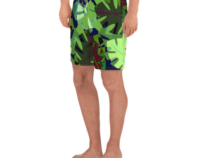 Tropical Flora Men's Swim Trunks/Athletic Long Shorts