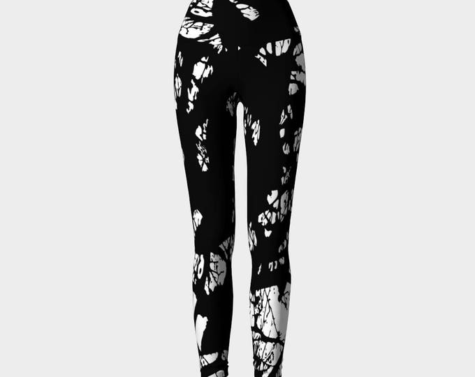 Black and White Printed Leggings, Yoga Leggings, Yoga Pants, Entangled branches Leggings, Women's Leggings, Leggings, Gift for her