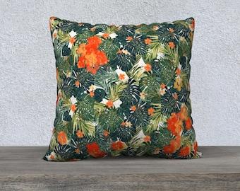 Orange Jungle Pillow Cover, Sofa Pillow, Throw Pillow, Lush palms with orange flowers, Beach House Decor