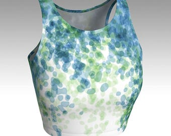 Blue and Green Rain Drops Crop Top, Workout Crop Tops, Tops, Women's Tops, Yoga Tops, Swim Tops, Athletic Tops