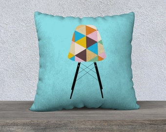 Mid-Century Pillow Cover, Featuring vintage Chair on Baby Blue Pillow Cover
