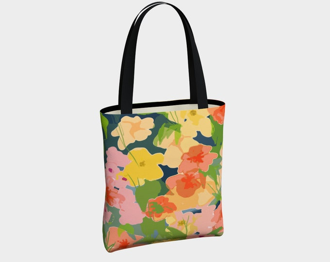 Midnight Garden Floral Tote Bag with Pockets, Tote Bag, Canvas Tote Bag, Shoulder Bag, Fashion Tote, Everyday Tote, Urban Tote, Basic Tote
